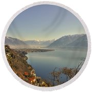 Panoramic View Over A Lake Round Beach Towel