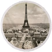 Paris: Eiffel Tower, 1900 Round Beach Towel