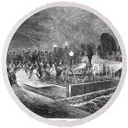 Paris: Sewers, 1869 Round Beach Towel