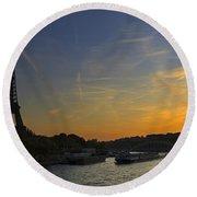 Parisian Sunset. Round Beach Towel