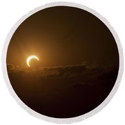 Partial Solar Eclipse Round Beach Towel
