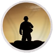 Partially Silhouetted U.s. Marine Round Beach Towel