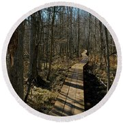 Path Into The Woods Round Beach Towel