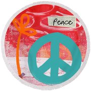 Peace Round Beach Towel by Linda Woods