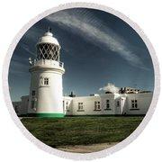 Pendeen Lighthouse Round Beach Towel