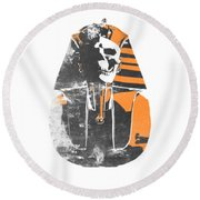 Pharaoh Stencil  Round Beach Towel by Pixel  Chimp