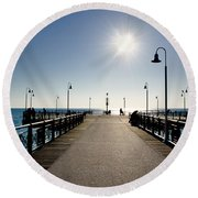 Pier In Backlight Round Beach Towel