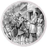 Pilgrims: Thanksgiving, 1621 Round Beach Towel