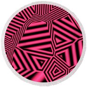 Pink And Black Abstract Round Beach Towel