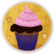 Pink Frosted Cupcake Round Beach Towel