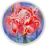 Pink Ginger Round Beach Towel