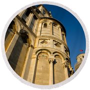 Pisa Tower And Cathedral Round Beach Towel