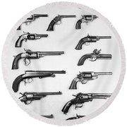 Pistols And Revolvers Round Beach Towel