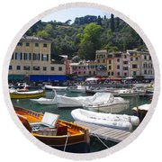 Portofino In The Italian Riviera In Liguria Italy Round Beach Towel by David Smith