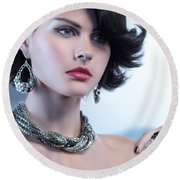 Portrait Of A Beautiful Woman Wearing Jewellery Round Beach Towel