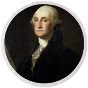 Portrait Of George Washington Round Beach Towel