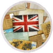 Postcard And Old Papers Round Beach Towel by Setsiri Silapasuwanchai