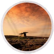 Poulnabrone Dolmen, The Burren, Co Round Beach Towel