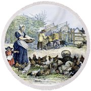Poultry Yard, 1847 Round Beach Towel
