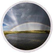 Prairie Hail Storm And Rainbow Round Beach Towel