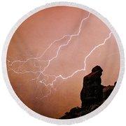 Praying Monk Camelback Mountain Lightning Monsoon Storm Image Tx Round Beach Towel