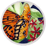 Precocious Butterfly Round Beach Towel