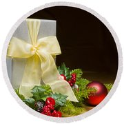 Present Decorated With Christmas Decoration Round Beach Towel