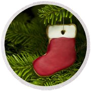Present Sock Shape Short Bread Cookie In Christmas Tree Round Beach Towel