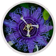 Purple Flower 1 Round Beach Towel