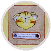Quilted Cat  Round Beach Towel