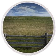 Rail Fence And Field Along The Blue Ridge Parkway Round Beach Towel