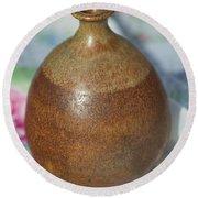 Rare John Regis Tuska Pottery Vase Round Beach Towel