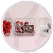 Raspberries Growing Mold Round Beach Towel