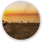Reculver Sunset Round Beach Towel