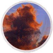 Red Clouds Round Beach Towel