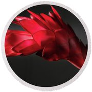Red Ginger Alpinia Purpurata Flower Round Beach Towel