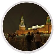 Red Square In Moscow At Night Round Beach Towel