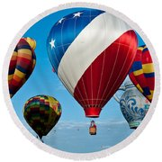 Red White And Balloons Round Beach Towel