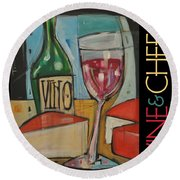 Red Wine And Cheese Poster Round Beach Towel