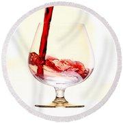 Red Wine Round Beach Towel by Michal Boubin