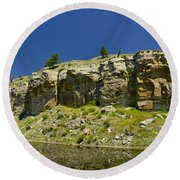 Reflecting Cliffs Round Beach Towel