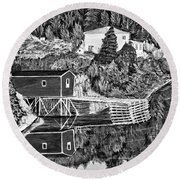 Reflections B W Round Beach Towel by Barbara Griffin