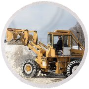 Removing Snow Round Beach Towel by Ted Kinsman
