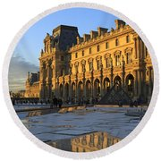 Richelieu Wing Of The Louvre Museum In Paris Round Beach Towel
