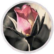 Rita Rosebud Pink Round Beach Towel