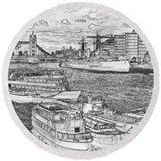 River Thames Art Round Beach Towel
