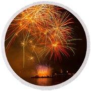 River Thames Fireworks Round Beach Towel