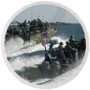 Riverine Command Boats And Security Round Beach Towel