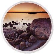 Rocky Shore At Twilight Round Beach Towel