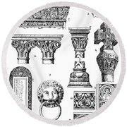 Romanesque Ornament Round Beach Towel